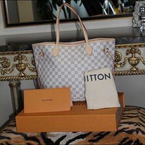 Louis Vuittone Neverfull MM damier azur rose bal